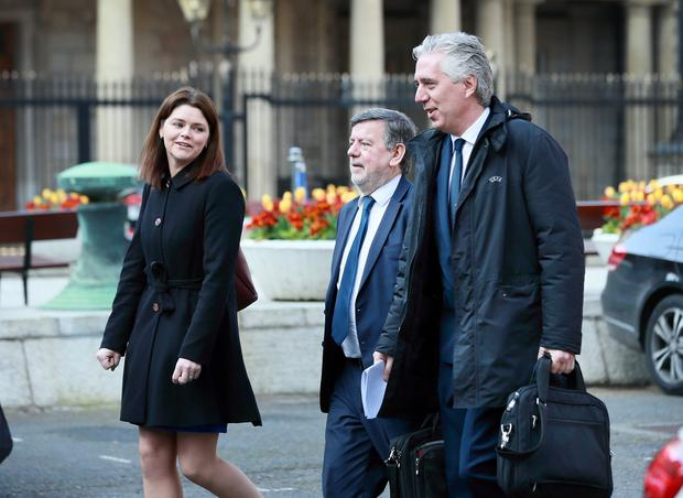 Defence: FAI interim chief executive Rea Walshe, president Donal Conway and executive vice president John Delaney arrive at Leinster House to give their side at the Oireachtas committee hearing. Photo: Frank McGrath