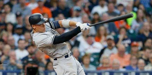 Home run: Aaron Judge of the New York Yankees - sports bodies like Major League Baseball and players unions have now moved towards examining ways of taking a cut of the multibillion sports betting industry. Photo: Bob Levey/Getty Images