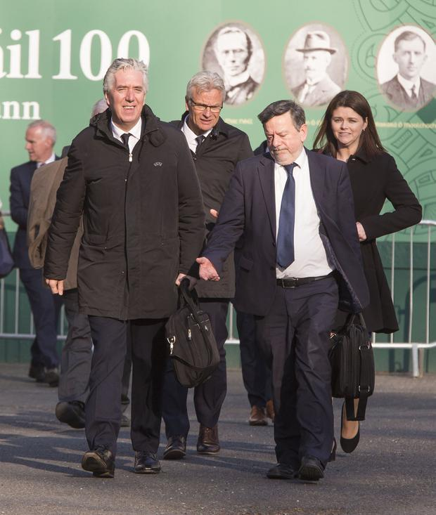 John Delaney with FAI Officials pictured leaving Leaving Leinster House Pic: Colin O'Riordan