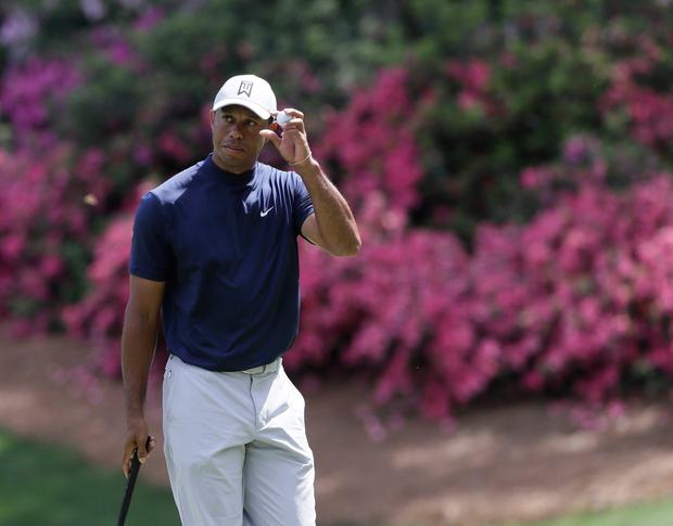 Tiger Woods on the 13th hole