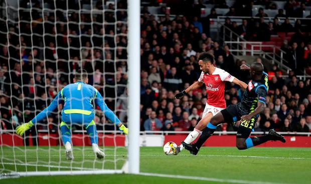 Arsenal's Pierre-Emerick Aubameyang has a shot on goal. Photo: Adam Davy/PA Wire