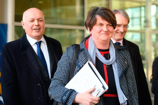 Reddest of lines: The DUP's Arlene Foster is less than impressed by Mrs May's tactics. Picture: PA