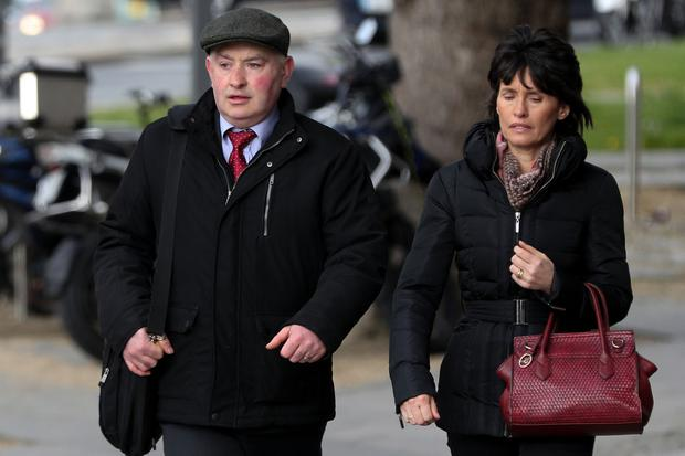 On trial: Patrick Quirke at court with his wife Imelda as the murder trial reaches its closing stages. Photo: Courtpix