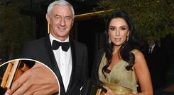 Newly engaged Ian Rush & Carol Anthony and other Liverpool Football Legends seen leaving The Marker Hotel, inset, a close-up of Carol's engagement ring