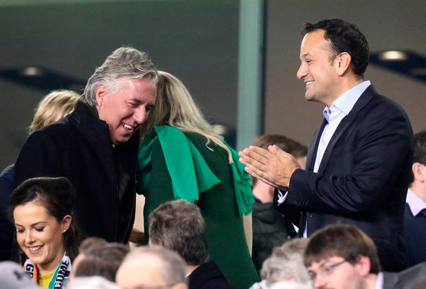 Republic of Ireland Taoiseach Leo Varadkar (right) and FAI Chief Executive John Delaney during the 2018 FIFA World Cup qualifying play-off second leg match against Denmark in 2017