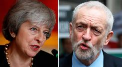 'Two heads are better than one – except if the heads in question belong to Theresa May and Jeremy Corbyn.' Photo: PA/PA Wire