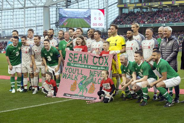 The Republic of Ireland X1 v Liverpool FC Legends match in the Aviva stadium in aid of injured Liverpool supporter, Sean Cox. Photo: Tony Gavin 12/4/2019