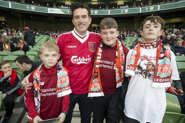 Liverpool fans PJ Leahy, Dylan Leahy, Kyle O'Meara amd Jamie Leahy before the Republic of Ireland X1 v Liverpool FC Legends match in the Aviva stadium in aid of injured Liverpool supporter, Sean Cox. Photo: Tony Gavin 12/4/2019