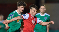 Kevin Toner of St Patrick's Athletic in action against Darragh Crowley of Cork City. Photo: Matt Browne/Sportsfile.