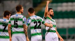 Roberto Lopes of Shamrock Rovers celebrates after scoring his side's second goal of the game during the SSE Airtricity League Premier Division match between Shamrock Rovers and Waterford at Tallaght Stadium in Dublin. Photo by Ramsey Cardy/Sportsfile