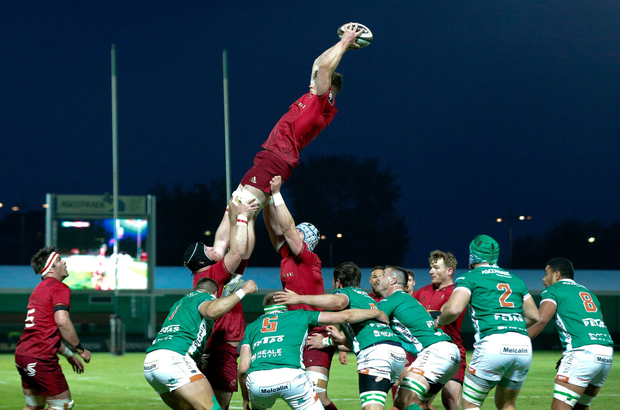 Jack O'Donoghue of Munster Rugby gets the ball in line out. Photo by Roberto Bregani/Sportsfile