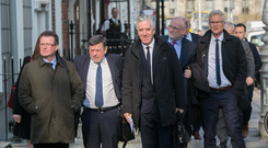 Former chief executive John Delaney (centre) and Donal Conway ahead of Oireachtas hearing