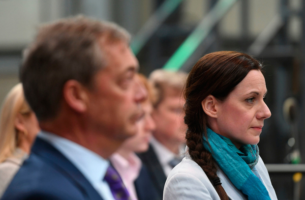 New party: Jacob Rees-Mogg's sister Annunziata (right) will stand as an MEP for Nigel Farage's new Brexit Party which was launched yesterday in Coventry. Photo: Joe Giddens/PA Wire