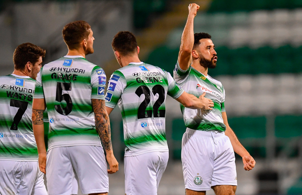 DOUBLING UP: Roberto Lopes of Shamrock Rovers celebrates after scoring his side's second goal during the SSE Airtricity Premier Division win over Waterford in Tallaght. Photo by Ramsey Cardy/Sportsfile