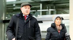 Patrick Quirke with his wife Imelda leaving the Criminal Courts of Justice. Picture: Gerry Mooney