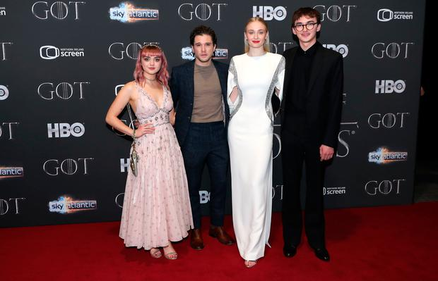 Maisie Williams, Kit Harington, Sophie Turner, and Isaac Hempstead Wright attending the Game of Thrones Premiere, held at Waterfront Hall, Belfast. Photo: Liam McBurney/PA Wire