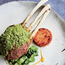 Herb-crusted rack of lamb with sweet potato