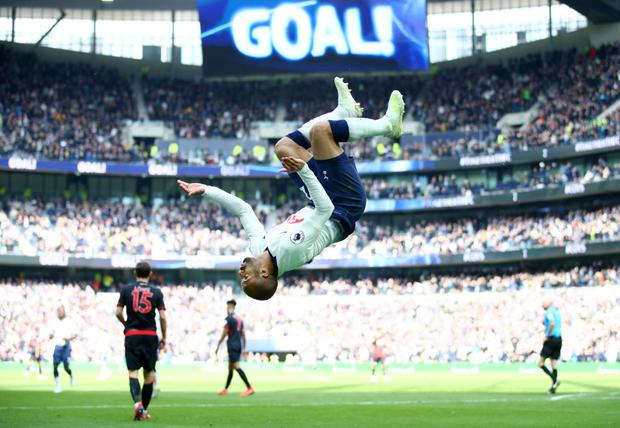 Lucas Moura of Tottenham Hotspur celebrates after scoring his team's third goal during the Premier League match between Tottenham Hotspur and Huddersfield Town at the Tottenham Hotspur Stadium (Photo by Julian Finney/Getty Images)