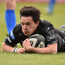 Sam Johnson of Glasgow Warriors touches down to score his side's first try during the against Leinster at the RDS Arena in Dublin. Photo by Ben McShane/Sportsfile