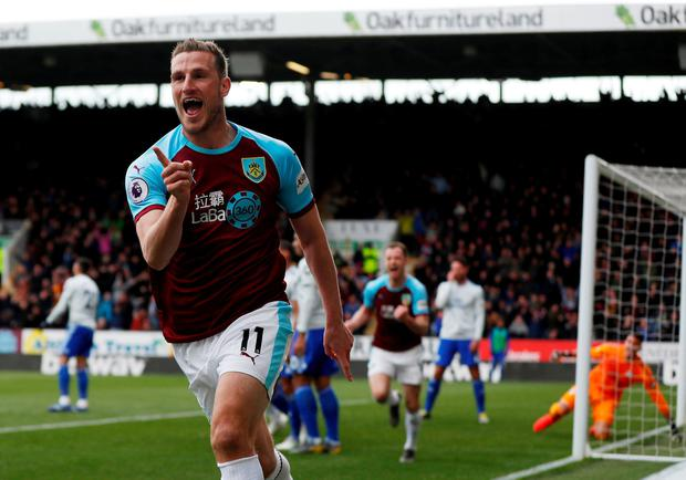 Soccer Football - Premier League - Burnley v Cardiff City - Turf Moor, Burnley, Britain - April 13, 2019 Burnley's Chris Wood celebrates scoring their first goal. Action Images via Reuters/Lee Smith