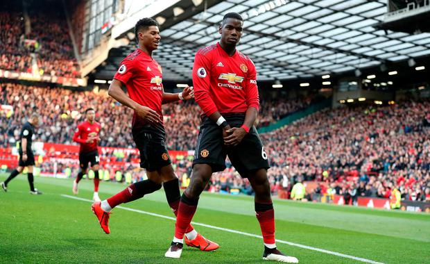 Manchester United's Paul Pogba celebrates scoring his side's second goal of the game from the penalty spot during the Premier League match at Old Trafford, Manchester. Saturday April 13, 2019. Martin Rickett/PA Wire.