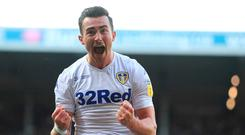Leeds United's Jack Harrison celebrates scoring the first goal during the Sky Bet Championship match at Elland Road, Leeds. Mike Egerton/PA Wire.