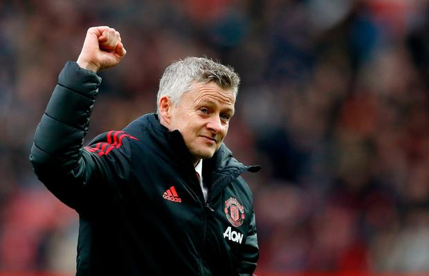 Manchester United's manager Ole Gunnar Solskjaer acknowledges the crowd after the final whistle during the Premier League match at Old Trafford, Manchester. Martin Rickett/PA Wire.