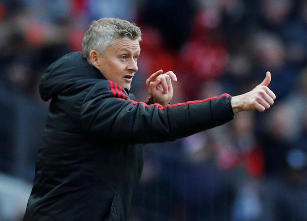 Manchester United manager Ole Gunnar Solskjaer gestures during yesterday's match. Photo: Phil Noble/Reuters