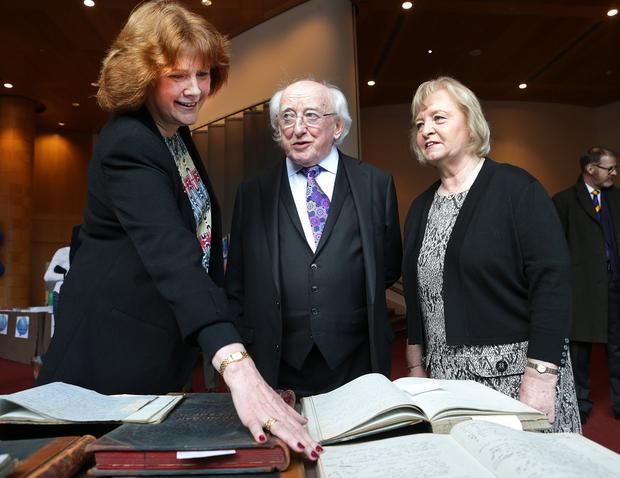 President Michael D Higgins, meets Bernie Hogan, right and Theresa Cotter, members of St Michans Conference, at the St Vincent de Paul 175th anniversary celebration at the Convention Centre PHOTO: Damien Eagers