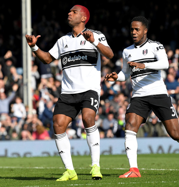 Fulham's Ryan Babel celebrates scoring his side's second goal. Photo: Reuters/Tony O'Brien