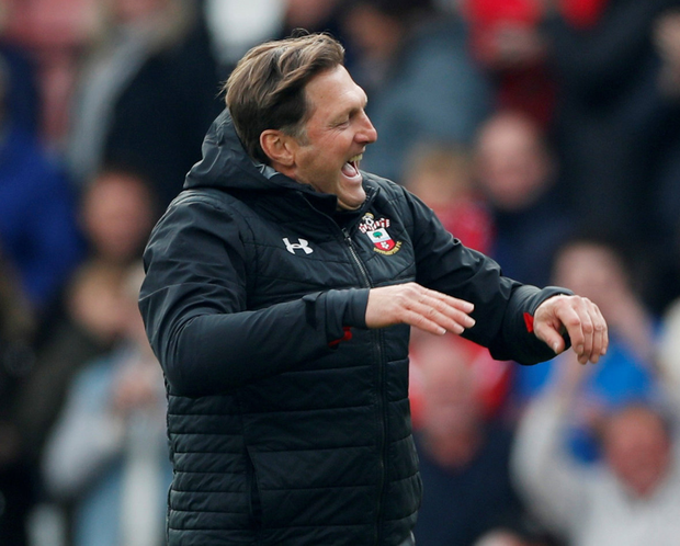 Southampton manager Ralph Hasenhuttl celebrates after the match. Photo: Reuters/Paul Childs