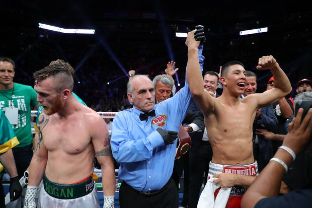 MONTERREY, MEXICO - April 13: Jaime Munguia celebrates his victory over Dennis Hogan on April 13, 2019 at Arena Monterrey in Monterrey, Mexico. (Photo by Tom Hogan/Golden Boy/Getty Images)