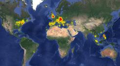 Map showing Facebook outages worldwide (Photo: downdetector.co.uk)