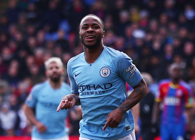 Soccer Football - Premier League - Crystal Palace v Manchester City - Selhurst Park, London, Britain - April 14, 2019 Manchester City's Raheem Sterling celebrates scoring their second goal. REUTERS/Hannah McKay