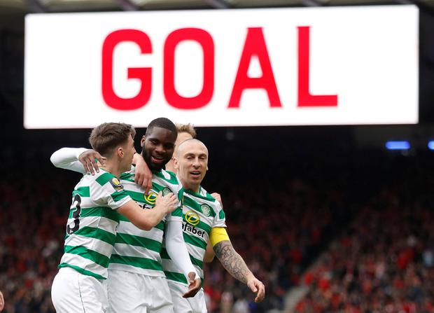 Soccer Football - Scottish FA Cup Semi Final - Aberdeen v Celtic - Hampden Park, Glasgow, Britain - April 14, 2019 Celtic's Odsonne Edouard celebrates scoring their second goal from the penalty spot with team mates REUTERS/Russell Cheyne