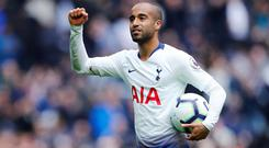 Tottenham's Lucas Moura celebrates with the match ball after scoring the first hat-trick at the new Tottenham stadium. Photo: REUTERS/Eddie Keogh