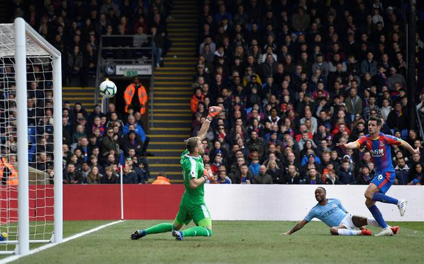 Sterling's value: Manchester City's Raheem Sterling scores the first goal against Crystal Palace. Photo: Action Images via Reuters/Tony O'Brien