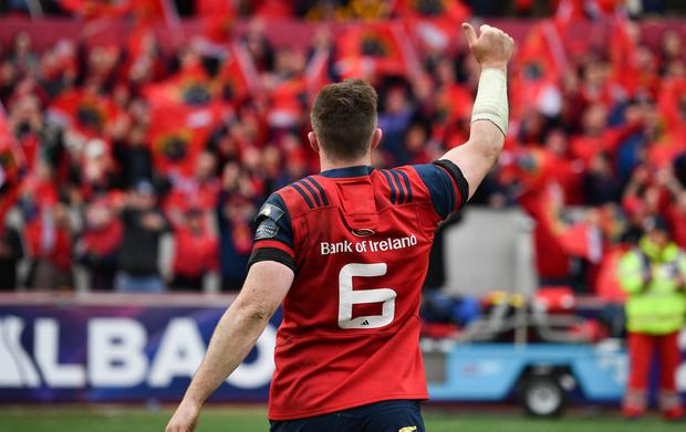Munster captain Peter O'Mahony salutes fans in Thomond Park. Photo: Brendan Moran/Sportsfile