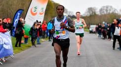 Hiko Tonosa, of Dundrum South Dublin, claimed his first title in the men's race. Photo: Sam Barnes/Sportsfile