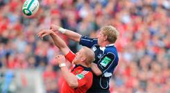 Leo Cullen battling Munster's Paul O'Connell in a lineout during Leinster's Heineken Cup semi-final win in 2009. The two provinces have never met in a European final. Photo: Pat Murphy / Sportsfile