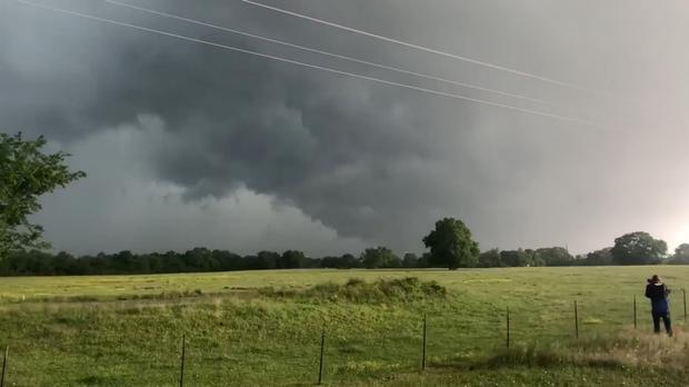 A view of clouds, part of a weather system seen from near Franklin, Texas, U.S., in this still image from social media video dated April 13, 2019. TWITTER @DOC_SANGER/via REUTERS THIS IMAGE HAS BEEN SUPPLIED BY A THIRD PARTY. MANDATORY CREDIT. NO RESALES. NO ARCHIVES. MUST ON SCREEN COURTESY TWITTER @DOC_SANGER