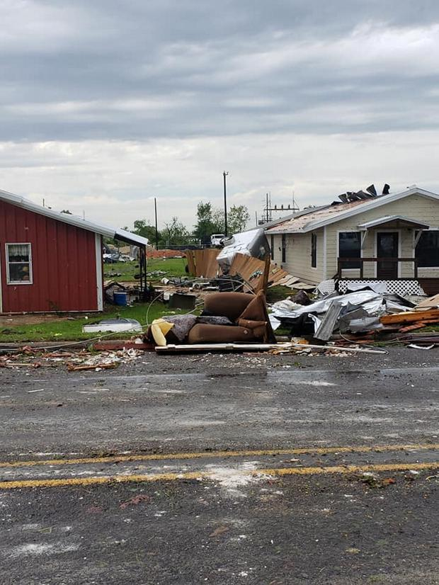 Debris seen in the aftermath of a tornado in Franklin, Texas, U.S., in this image from social media dated April 13, 2019 . CHUCK BATTEN/via REUTERS THIS IMAGE HAS BEEN SUPPLIED BY A THIRD PARTY. MANDATORY CREDIT. NO RESALES. NO ARCHIVES. MUST ON SCREEN COURTESY CHUCK BATTEN