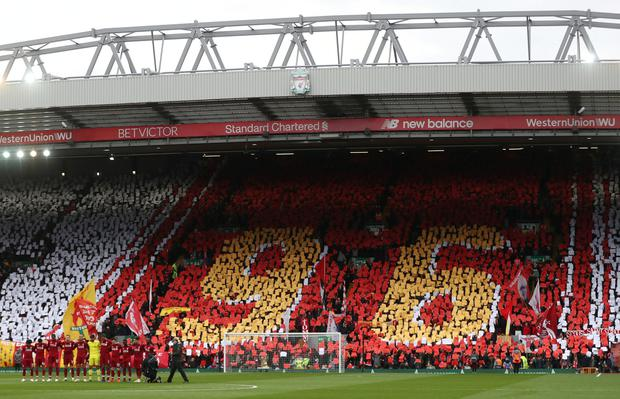 A view inside Anfield during a minute's silence for the anniversary of the Hillsborough disaster. Photo: Action Images via Reuters/Lee Smith