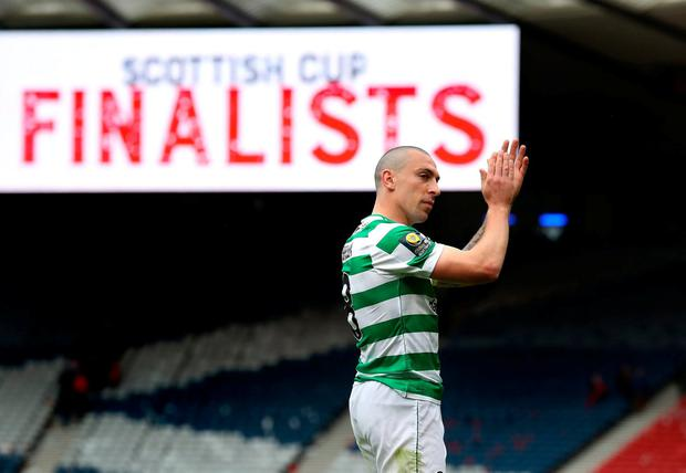 Celtic's Scott Brown at full time. Photo: Andrew Milligan/PA Wire