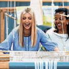 Weaving: White House senior adviser Ivanka Trump, left, reacts as she tries her hand at a traditional weaving loom at Moya, a manufacturing centre of textile and traditional crafts, with Moya founder Sara Abera, in Addis Ababa, Ethiopia. Photo: AP/Jacquelyn Martin