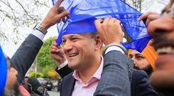 Leo Varadkar during a visit to the Sikh temple in Serpentine Road, Dublin. Photos: Gareth Chaney Collins