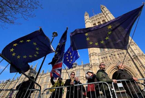 Stars in their eyes: Anti-Brexit protesters outside the UK Houses of Parliament. Photo: REUTERS/Gonzalo Fuentes