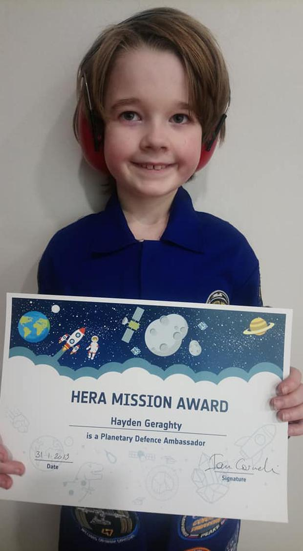 Hayden (9) is now a regular columnist for Astronomy Ireland and dreams of visiting space himself (Photo: Facebook/Astronomy Ireland)