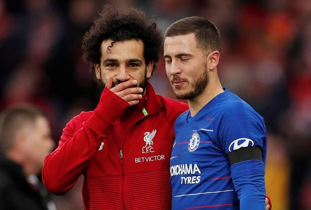 Liverpool's Mohamed Salah speaks with Chelsea's Eden Hazard after yesterday's match. Action Images via Reuters/Lee Smith