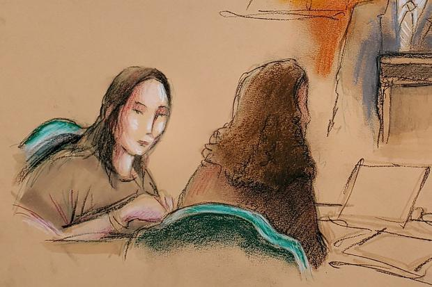 Yujing Zhang (L), charged with bluffing her way into President Donald Trump's Florida resort, appears at her hearing at the U.S. federal court in this courtroom sketch, in West Palm Beach, Florida, U.S., April 8, 2019. REUTERS/Daniel Pontet